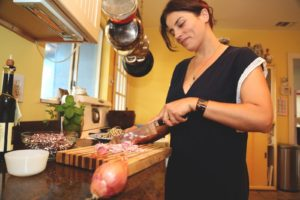 woman chopping onions