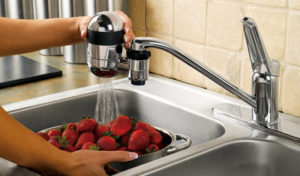 faucet water filter with strawberries in the sink